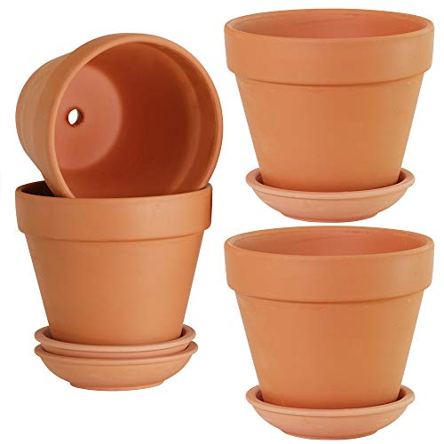 (Large Terra Cotta Pots with Saucer- 4-Pack Large 6'' Clay Flower Pots with Saucers, Flower Pot Planters for Indoor, Outdoor Plant, Succulent Display )