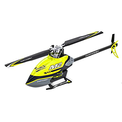 OMPHOBBY M2 Remote Control Helicopter Dual-brushless Motor RC Helicopter for Adults Direct-Drive 3D Helicopter-BNF RC Helicopter (Racing Yellow)