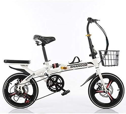 GiIiv Freno de Disco Bicicleta Plegable de 20 Pulgadas Cambio Mito Estudiantes Adultos Masculinos y Femeninos Ultraligero pequeña Bicicleta portátil (Color : White, Size : 20 Speed): Amazon.es: Hogar
