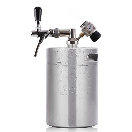 Lamtor G005-5L 5L Mini Keg Pressurized Growler for Craft Dispenser System CO2 Adjustable Draft Beer Faucet with Perfect Pour Regulator, Silver