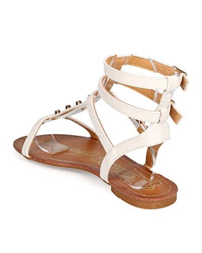 Toe ED98 Open DbDk Leatherette Strappy Studded Sandal Women White Gladiator w7xgZIP7
