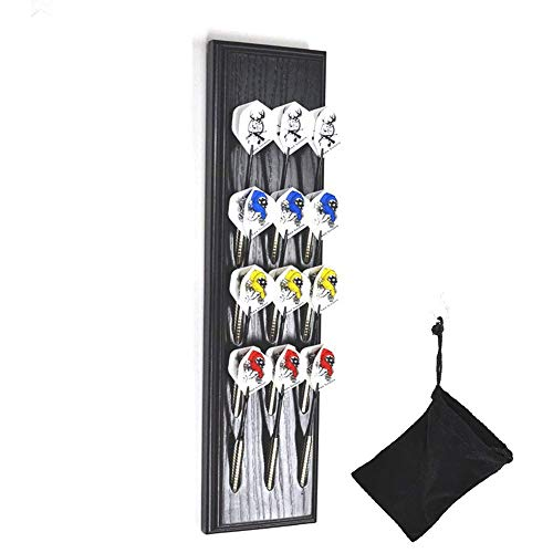 Wall Mount Wood Darts Holder/Stand/Caddy Display, Holds 12 Steel/Soft (Plastic) Tip Dart. Darts Accessories, This Wooden Rack Perfectly Matches Your Dart Board Backer, Scoreboard and Cabinet