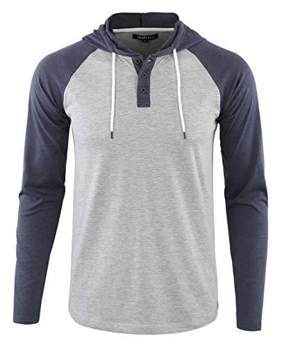 (DESPLATO Men's Casual Long Sleeve Lightweight Henley Hooded Shirt Hoodie Jersey H.Gray/C.Blue)