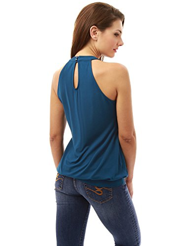 Femmes Top Blouson Azur Licol PattyBoutik pliss Torsion Fonc P1adv