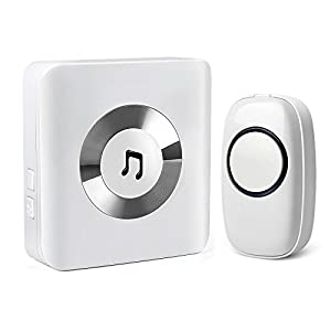 Wireless Doorbell Kit, 1 Receiver Chime & 1 Waterproof Push Button With 52 Melodies, 4 Volume Levels and LED Flash, Operating at 1000 Feet / 300 Meters Range, Battery (Included) Powered