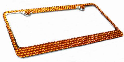 Hotblings 4 Row ORANGE Crystal Bling Sparkle Rhinestone Metal License Plate Frame & Caps Set