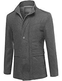 Men Classic Long Sleeves Button Closure Wool Blend Coat