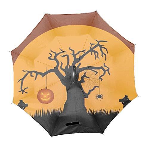 Halloween Tombstone Inverted Umbrella, Umbrella Windproof, Reverse Umbrella, Umbrellas for Women