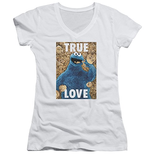 Juniors: Sesame Street- Cookie Monster True Love V-Neck Juniors (Slim) T-Shirt Size XXL - True Love Juniors T-shirt