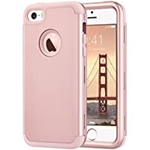 iPhone SE Case,iPhone 5S Case,iPhone 5 Case,ULAK Shock Absorbing Anti-slip iPhone SE Case Hybrid Hard PC+Soft Silicone Dust Scratch Protective Cover for iPhone SE/5S/5,Rose Gold