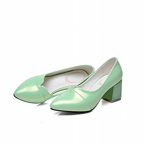 Latasa Womens Simple Solid Color Pointed-toe Mid Chunky Heel Pumps Shoes Light Green 52fdJ9FFZ
