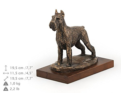 Schnauzer (Cropped), Dog Figure, Statue on Woodenbase, Limited Edition, Artdog ()