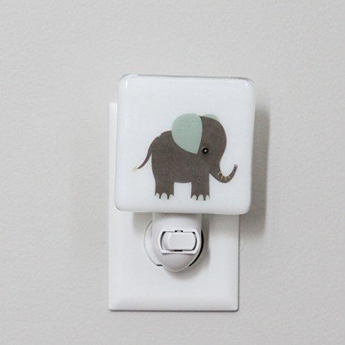 Night Mint (Gray and Mint Elephant Nightlight - Nursery Kids Animals)