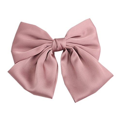 Pink Color Satin Large Bow Hair Clips Clips Women Barrettes - Large Pink Satin