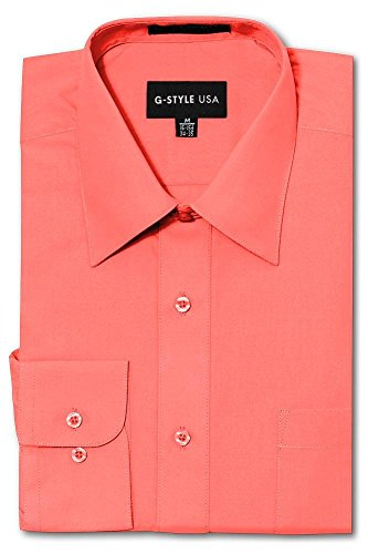 G-Style USA Men's Regular Fit Long Sleeve Solid Color Dress Shirts - Coral - 2X-Large - 36-37