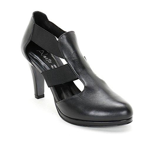 ALESYA by Scarpe&Scarpe - Botines altos con elásticos, de Piel, con Tacones 9 cm Negro