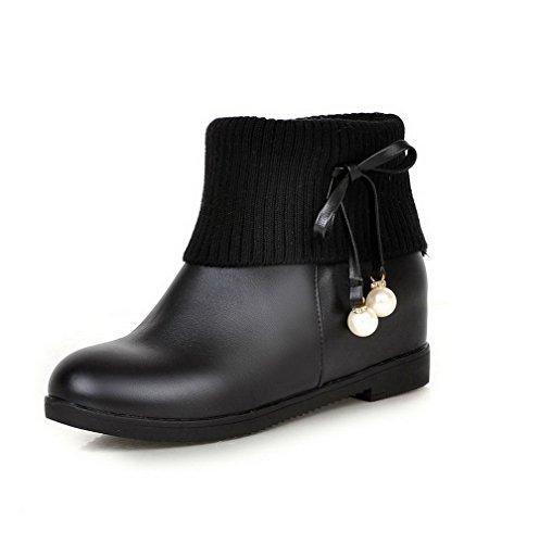 Low Heels Kitten Toe Closed Black Round PU Top Boots Solid Women's WeenFashion 60WxCgIg