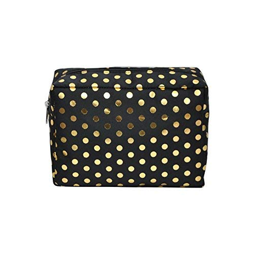 N. Gil Large Travel Cosmetic Pouch Bag 2 (Gold Polka Dot Black)