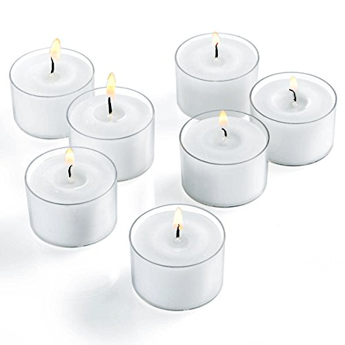 Unscented Tea Light Candles in Clear Cups - White - Set of 30 - Burns up to 8 Hours by Candle Charisma (Image #1)