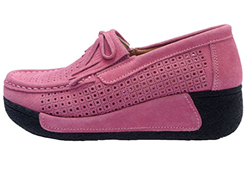 DADAWEN New Women's Ladies Suede Loafers Wedge Thick Heel Pumps Shoes Pink MqDFGDZ8z