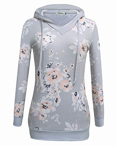 VOIANLIMO Women's Sweatshirts Long Sleeve Button V-Neck Pockets Pullover Hoodies (Print-LightGrey, Large)