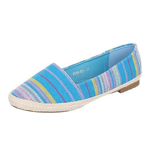 Ital-Design - Mocasines de tela para mujer Multicolor - Blau Multi