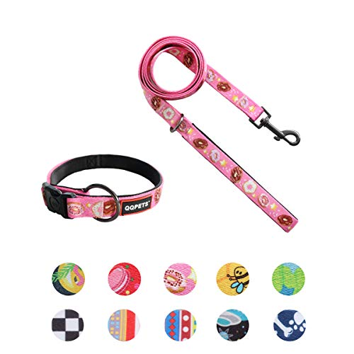 QQPETS Dog Collar Leash Set Adjustable Personalized Basic Collars Leash with Handle for Puppy Medium or Large Dogs Training Walking (S, Pink Donut)
