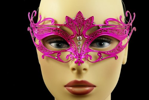 Laser Cut Venetian Halloween Masquerade Mask Costume Extravagantly Simple Inspire Design - Hot Pink w/ (Simple Venetian Masks)