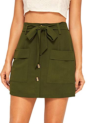 - WDIRARA Women's Casual Bow Tie Waist Button Front Dual Pockets Mini Short Skirt Army Green XL