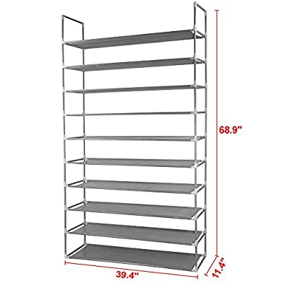 10 Tier Space Saving Storage Organizer 50 Pair Shoe Tower Rack Free Standing