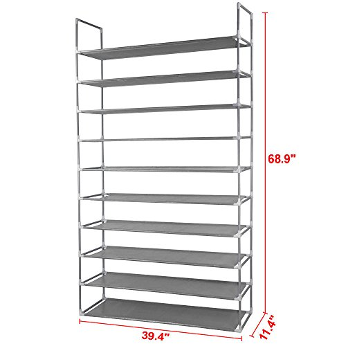 10 Tier Space Saving Storage Organizer 50 Pair Shoe Tower Rack Free Standing (Bar Sale Target Stools)