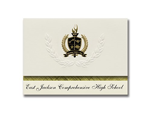 Signature Announcements East Jackson Comprehensive High School (Commerce, GA) Graduation Announcements, Pack of 25 with Gold & Black Metallic, 6.25