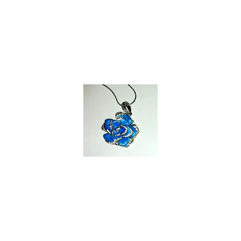 8GB Nice Blue Crystal Jewelry Flower USB Flash Drive with Necklace