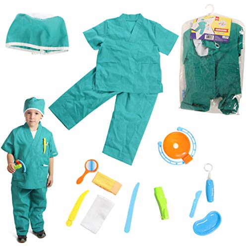 Kids Surgeon Costume (Dress 2 Play Surgeon Pretend Costume, Dress up Set with Accessories; 13 Pc)