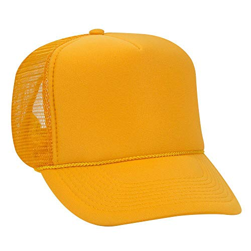 OTTO Polyester Foam Front 5 Panel High Crown Mesh Back Trucker Hat - Gold