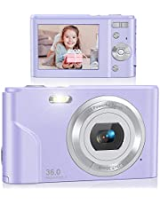 Digital Camera, Lecran FHD 1080P 36.0 Mega Pixels Vlogging Camera with 16X Digital Zoom, LCD Screen, Compact Portable Mini Cameras for Students, Teens, Kids (Purple) photo