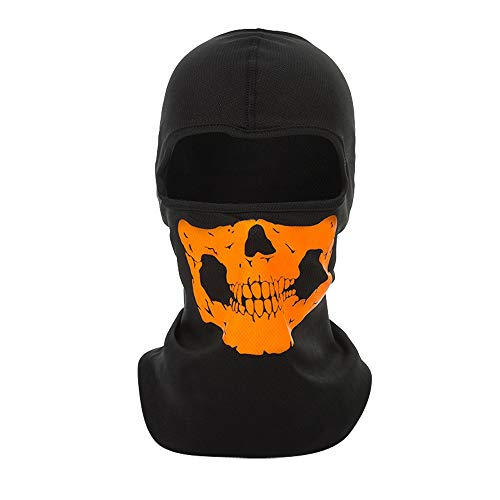 Stheanoo Elastic Windproof Mask Dustproof CS Ghost Reflective Mask Halloween Headgear Full Face Shield Outdoor Sports Sunscreen Halloween Mask Horror Costume Dress up for Party (Orange)]()