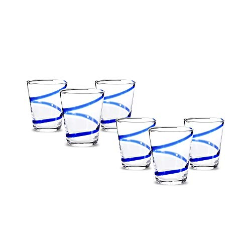 Impulse Crazy Rocks Hand-Crafted Glass, Blue, Set of 6
