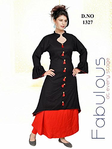 Latest Kurti 2018 Siddhi Vinayak New Designer Latest Fashion Trend New Collection 2018 Black And Red Plazo Style Kurti D 1327 Amazon In Clothing Accessories