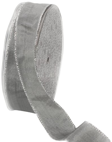 Ampelco Ribbon Company Silver Wired 27-Yard Taffeta Ribbon, 1-Inch, Silver Grey