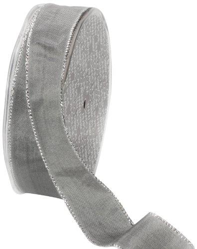Ampelco Ribbon Company Silver Wired 27-Yard Taffeta Ribbon, 1-Inch, Silver Grey