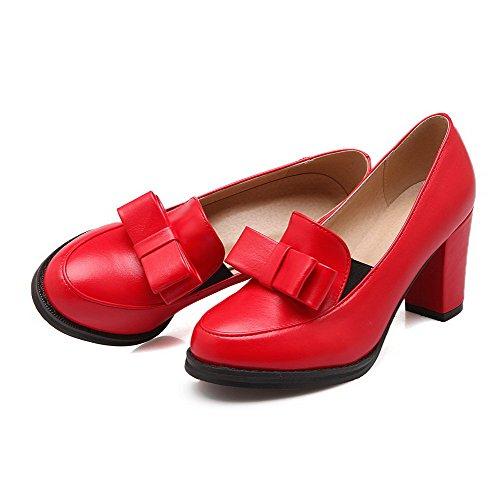 AllhqFashion Mujeres Tacón Grueso Sólido Puntera Redonda Cerrada De salón con Moño Rojo