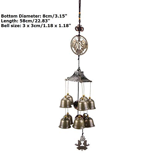 Blue Stones 1 Pcs Buddha Statue Pattern Bell Blessing Feng Shui Wind Chime for Good Luck Fortune Home Car Hanging Decor Gift Crafts