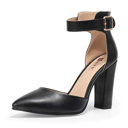 IDIFU Women's IN4 Pedazo High Block Heels Pumps Pointed Closed Toe Ankle Strap Dress Wedding Shoes (Black Pu, 9.5 M US) (High Heel Court Shoes With Ankle Strap)
