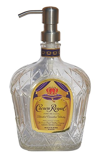 Landfilldzine Crown Royal Liquor Bottle Repurposed Soap Or Lotion Dispenser (750ml, Standard Purple)