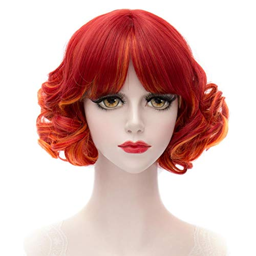 MQ Cosplay Wig COS Lolity Short Curly Wave Hair 1177 (Red to Orange)]()