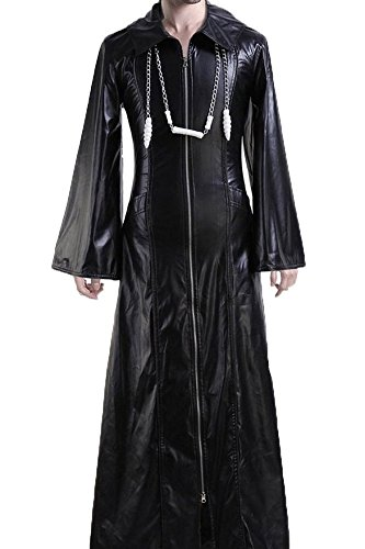 Organization XIII Kingdom Hearts 2 Cosplay Costume Long Suit with Hood Chain