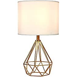 Oneach Vabrin Modern Table Lamp with White Fabric Lamp Shade Hollowed Out Antique Brass Base Desk lamp for Reading Living Room Bedside Table and Bedroom Nightstand LED Bulbs Included