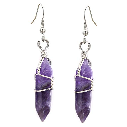 Amethyst Earrings Drop Dangle Real Natural Quartz Crystal Gemstone Wire Wrap Jewelry for Women