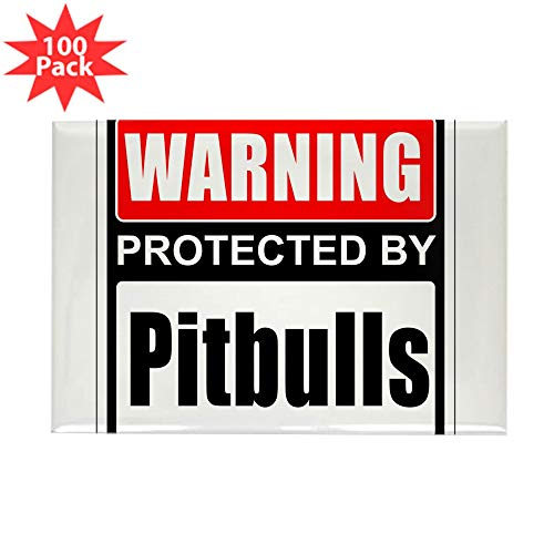 CafePress Warning Pitbulls Magnets Rectangle Magnet (100 pack)